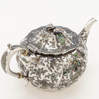 Handle to Gorham 'Japanese Work' Antique Sterling Silver and Enamel 'Sample' Tea Set, Providence, RI, 1897-98