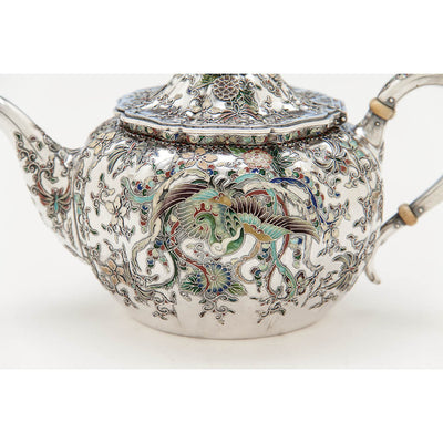 Phoenix on Gorham 'Japanese Work' Antique Sterling Silver and Enamel 'Sample' Tea Set, Providence, RI, 1897-98