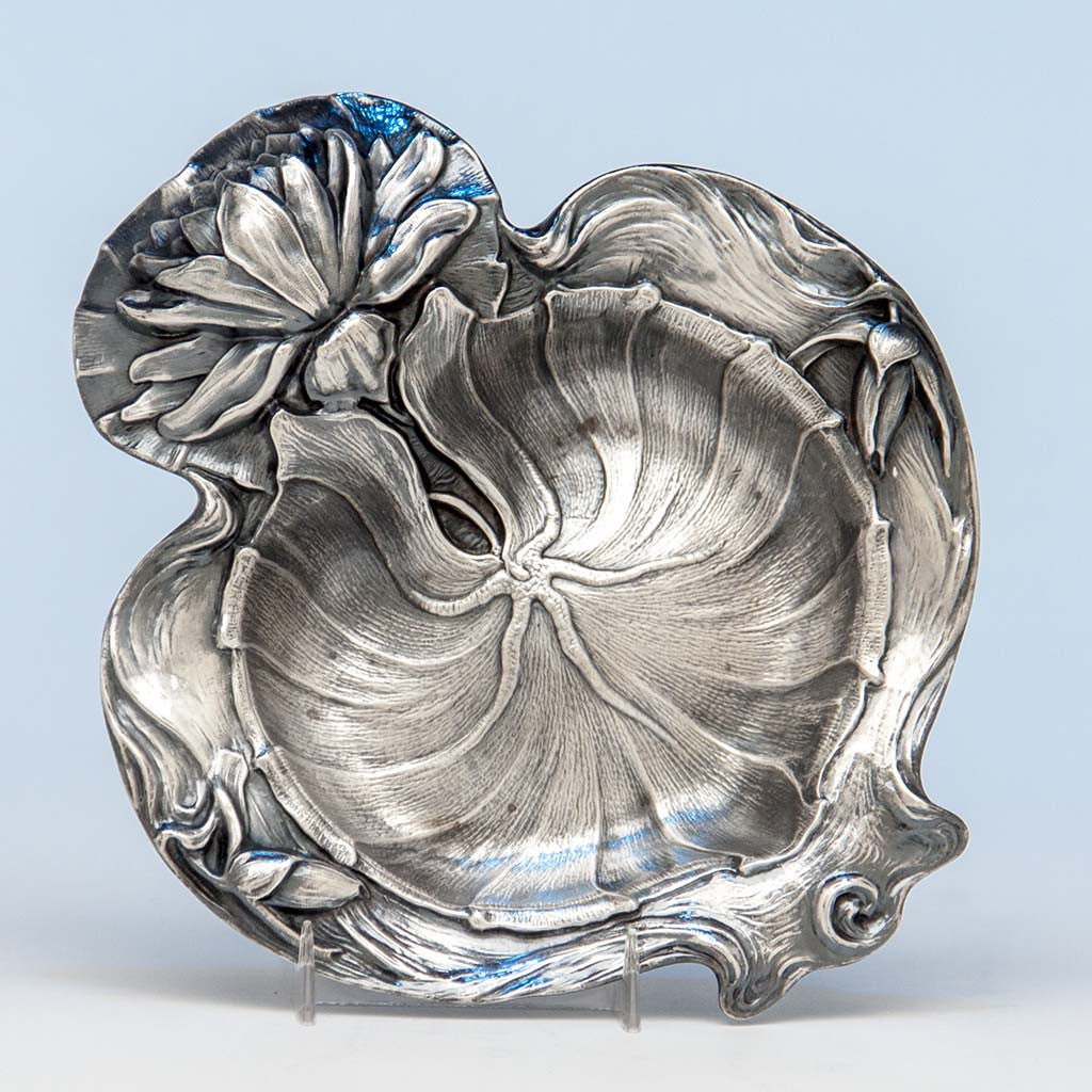 Alvin Water Lily Design Antique Sterling Silver Dish, Sag Harbor, NY, c. 1900