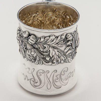 "Monogram on Shiebler ""Chrysanthemum"" Pattern Antique Sterling Silver Child's Cup, New York City, c. 1880's"