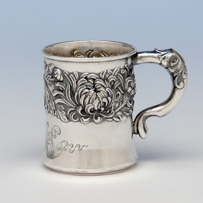 "Shiebler ""Chrysanthemum"" Pattern Antique Sterling Silver Child's Cup, New York City, c. 1880's"