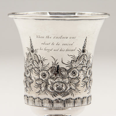 Inscription on Samuel Kirk Pair of 10.15 Silver Antique Goblets, Baltimore, MD, 1828-46