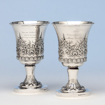 Samuel Kirk Pair of 10.15 Silver Antique Goblets, Baltimore, MD, 1828-46