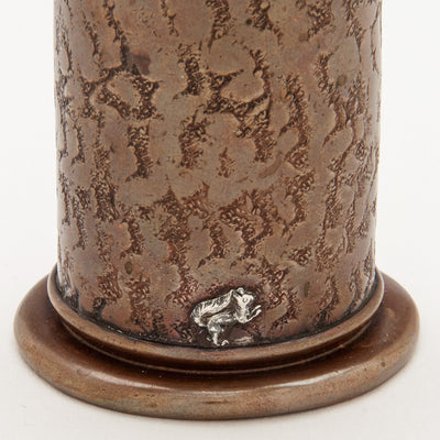 Applied squirrel on Gorham Antique Mixed-Metal Copper and Applied Silver Bud Vase, Providence, RI, 1884