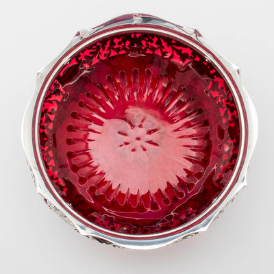 Gorham Rare Antique Sterling Silver and 'Blown-in' Glass Salad Bowl, Providence, RI, 1892/93, designed and executed for the World's Columbian Exhibition, Chicago, 1893