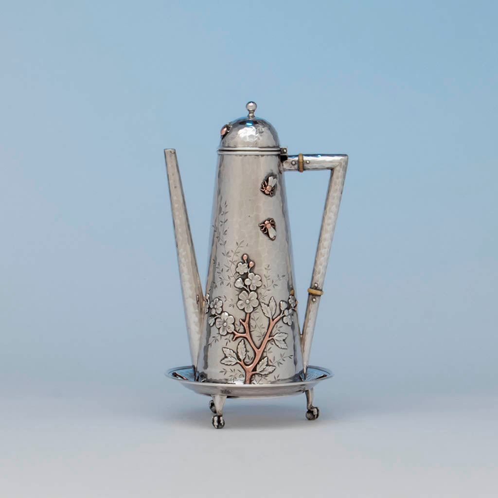 Whiting Sterling and Mixed Metals Teapot on Stand, NYC, c. 1880