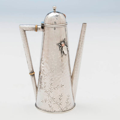engraving on Whiting Sterling and Mixed Metals Teapot on Stand, NYC, c. 1880