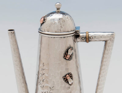 Flies on Whiting Sterling and Mixed Metals Teapot on Stand, NYC, c. 1880