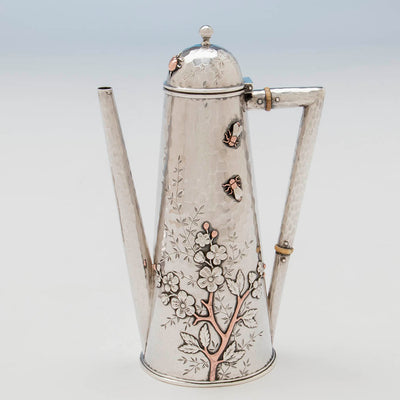 Tree on Whiting Sterling and Mixed Metals Teapot on Stand, NYC, c. 1880