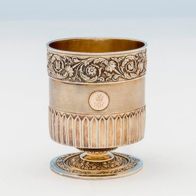 Detail of Edward Farrell Antique Sterling Shaving Beaker and Associated Brush, London, 1814/15