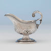 Detail of Jones, Shreve, Brown and Co Antique Coin Silver Gravy Boat, Boston, MA, c. 1857-1860