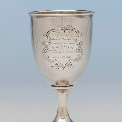 Inscription on American Antique Coin Silver Presentation Goblet, c.1860