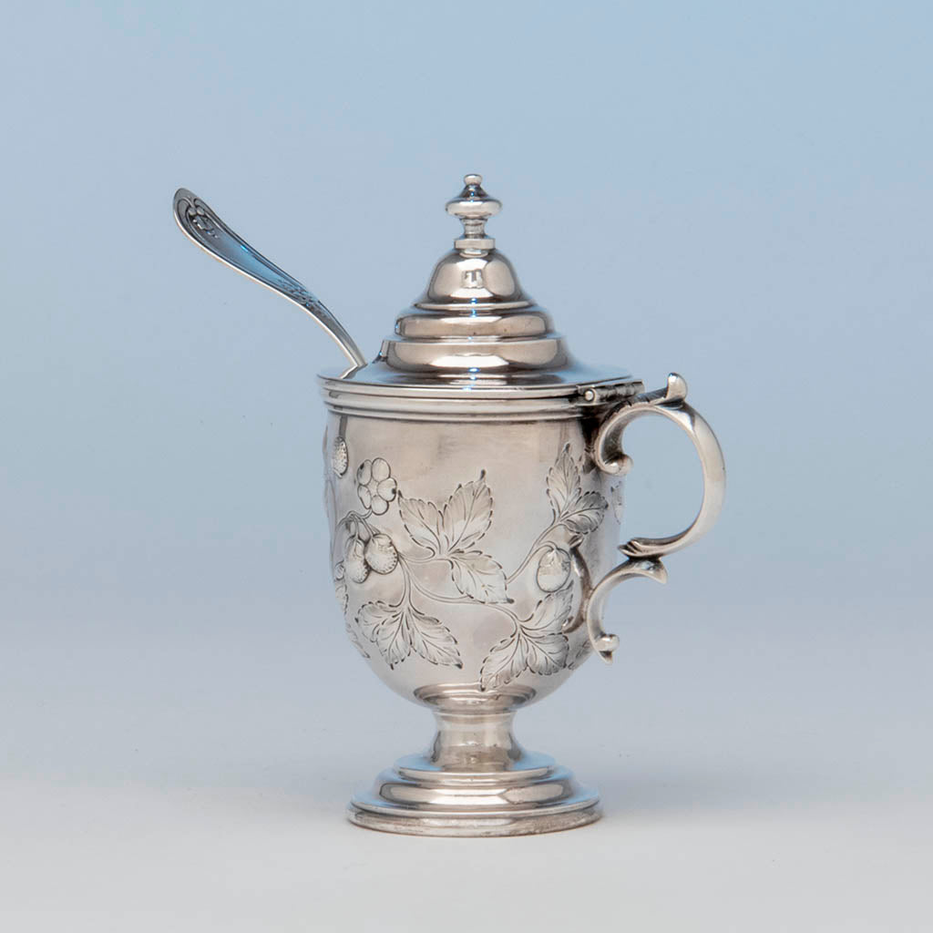 Vincent Laforme Antique Coin Silver Mustard Jar, Boston, MA, 1847-58