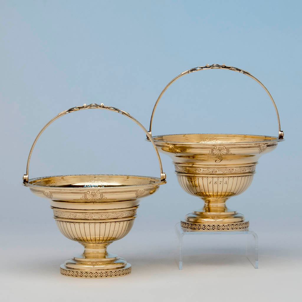 William Gale for Tiffany and Co Pair of Antique Sterling Sweetmeat Baskets, NYC, 1860-65