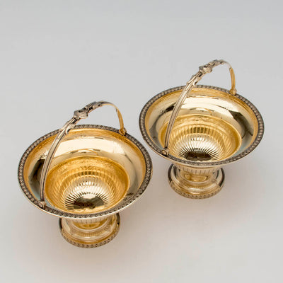 Top view of William Gale for Tiffany and Co Pair of Antique Sterling Sweetmeat Baskets, NYC, 1860-65