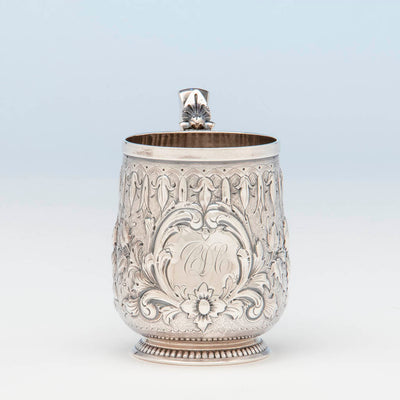 Monogram on Gorham Antique Coin Silver Child's Cup, Providence, RI, c. 1865