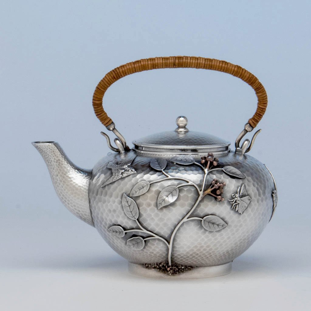 Durgin Sterling and Mixed Metal Tete-a-tete Tea Pot, Concord, NH, c. 1880