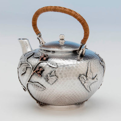 Butterly on Durgin Sterling and Mixed Metal Tete-a-tete Tea Pot, Concord, NH, c. 1880