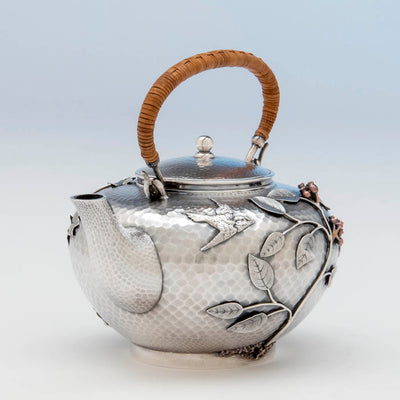 Bird on Durgin Sterling and Mixed Metal Tete-a-tete Tea Pot, Concord, NH, c. 1880