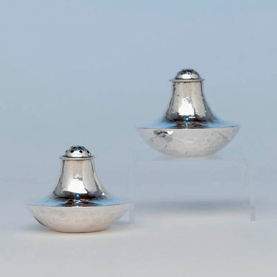 Franklin Porter Pair Sterling Silver Arts and Crafts Shakers, Danvers, MA, c. 1930