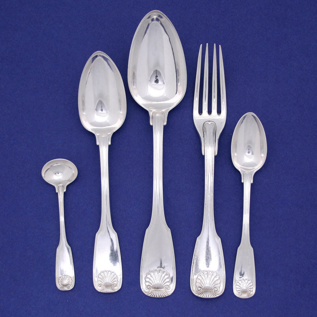 Place setting to Fletcher & Gardiner Antique Coin Silver Flatware Service, Philadelphia, PA, 1820-25