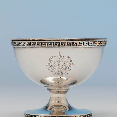 Monogram on Vanderslice and Co Antique Coin Silver Bowl, San Francisco, CA, c. 1860's