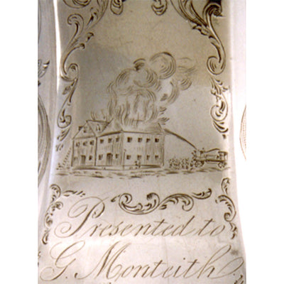 Engraved scene and presentation on Gale & Hayden Important Silver Presentation Cream or Milk Pitcher of Southern interest, c. 1846, retailed by Gregg & Hayden, Charleston, South Carolina