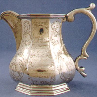 Gale & Hayden Important Silver Presentation Cream or Milk Pitcher of Southern interest, c. 1846, retailed by Gregg & Hayden, Charleston, South Carolina