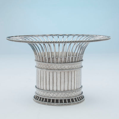 Side view of Paul Storr Pair of George IV Sterling Silver Fruit Baskets, London, 1823/24