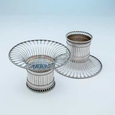 Inverted Paul Storr Pair of George IV Sterling Silver Fruit Baskets, London, 1823/24