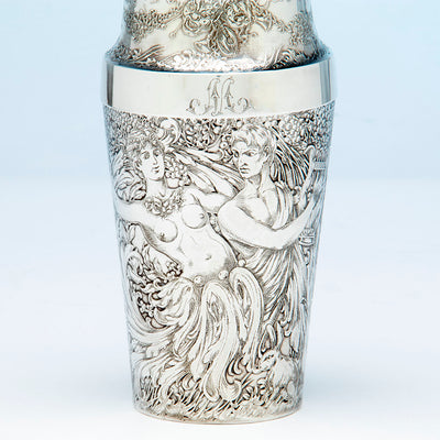 Initial on Tiffany and Co Antique Sterling Silver Exotic Cocktail Shaker, NYC, NY, c. 1888