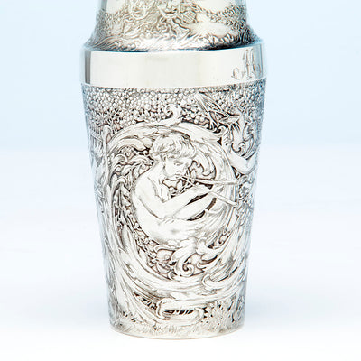 Pan on Tiffany and Co Antique Sterling Silver Exotic Cocktail Shaker, NYC, NY, c. 1888