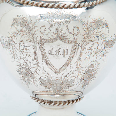 Monogram on William Gale and Son Antique Coin Silver Ewer, NYC, NY, 1856