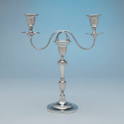 Single from Antique Sheffield Silver Plate Pair of Candelabra, Sheffield, England, c. 1870-1800