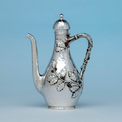 Whiting Sterling and Mixed Metals After-dinner Coffee Pot on Stand, NYC, c. 1880