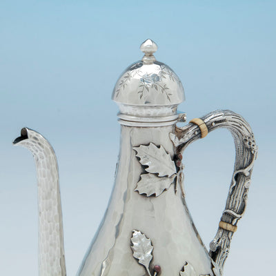 Cover on Whiting Sterling and Mixed Metals After-dinner Coffee Pot on Stand, NYC, c. 1880
