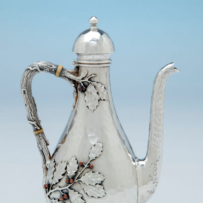 Handle to Whiting Sterling and Mixed Metals After-dinner Coffee Pot on Stand, NYC, c. 1880