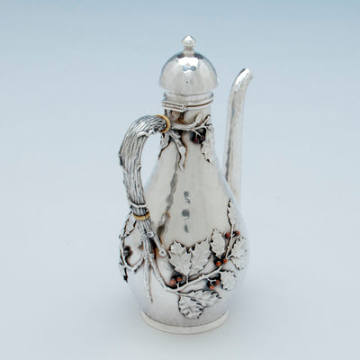 Top view of Whiting Sterling and Mixed Metals After-dinner Coffee Pot on Stand, NYC, c. 1880