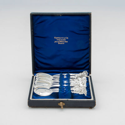 Tiffany & Co. 'Floral' Antique Sterling Silver Demitasse Spoons - set of 12, NYC, c. 1890