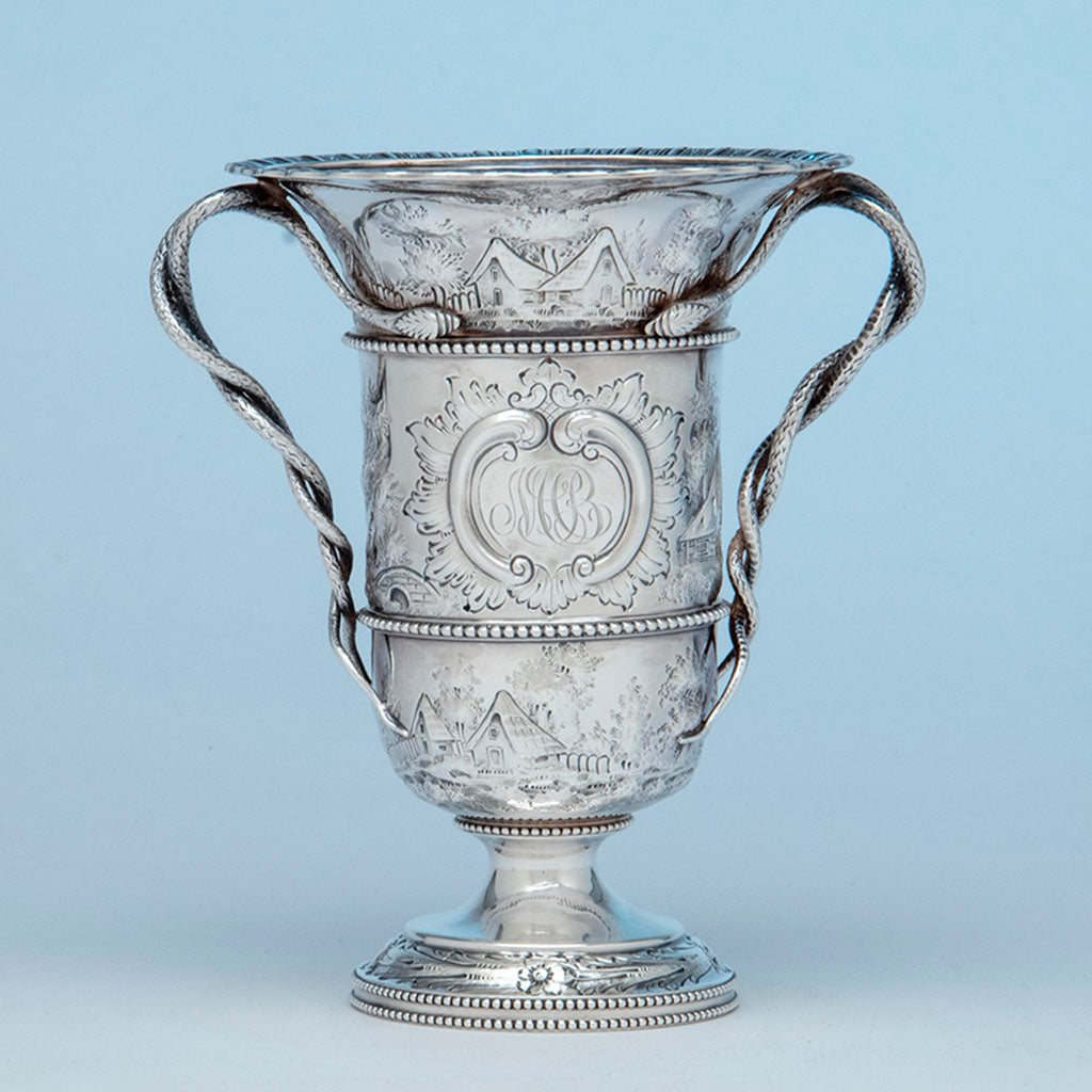 Bailey and Co. Antique Sterling Silver Repousse Landscape Snake-handled Vase, Philadelphia, PA, c. 1850