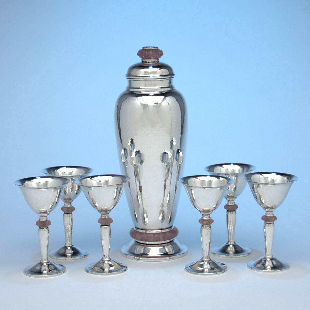 Charter Company Sterling Silver and Rose Quartz Art Deco Cocktail Service, Wallingford, CT, late 1920's