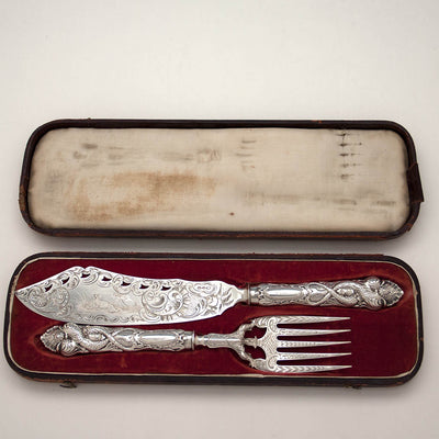 Albert Coles Antique Coin Silver Figural Fish Serving Set, NYC, c. 1850's