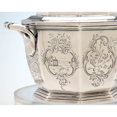 Obadiah Rich (attr.) 6-piece Antique Coin Silver Coffee and Tea Service, retailed by Lows, Ball & Company, Boston, c. 1840, owned by Charles L. Wilson
