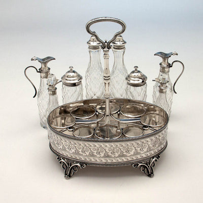 Interior frame of Bailey & Company Antique Coin Silver 8-bottle Cruet Set, Philadelphia, 1852-55