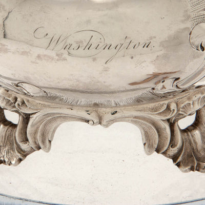 Washington engraving on M. W. Galt & Bro. Antique Coin Silver Creamer of Political Interest, Washington, DC, 1847-54
