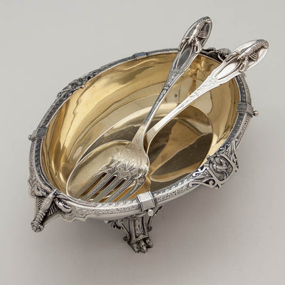 Interior of Peter Krider Antique Sterling Silver Figural Salad Bowl with Krider & Biddle Servers, Philadelphia, c. 1870