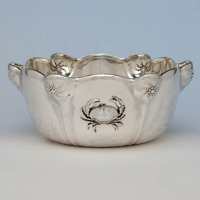 Whiting Mfg. Co Antique Sterling Silver Presentation Bowl with Applied Crab - design attributed to Charles Osborne, New York City, 1885