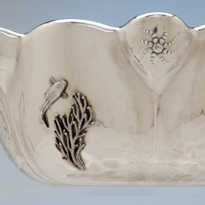 Seaweed on Whiting Mfg. Co Antique Sterling Silver Presentation Bowl with Applied Crab - design attributed to Charles Osborne, New York City, 1885