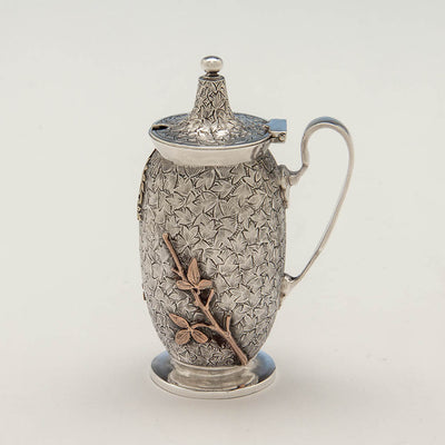 Reverse of Dominick & Haff Antique Sterling & Other Metals Mustard Pot, New York City, c. 1880