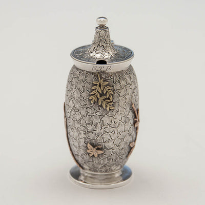 Front of Dominick & Haff Antique Sterling & Other Metals Mustard Pot, New York City, c. 1880